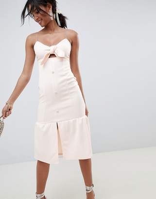 Asos DESIGN scuba knot front midi pephem dress