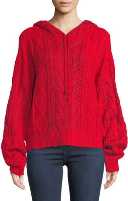RtA Marvin Cable-Knit Hooded Pullover Sweater