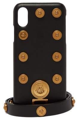 Medusa Coin Embellished Leather Iphone X Case - Mens - Black