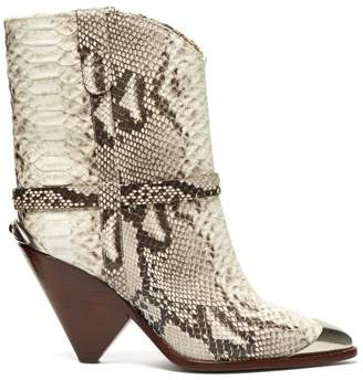 Isabel Marant Lamsy Python Effect Leather Ankle Boots - Womens - White Multi