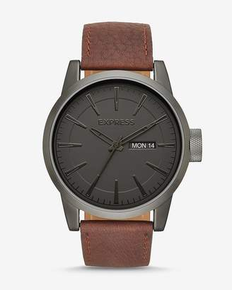 Express Empire Brown Leather Strap Multi-Function Watch