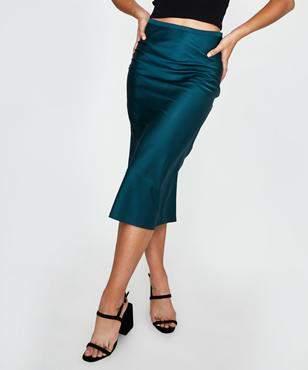 Alice In The Eve Satin Midi Skirt Green
