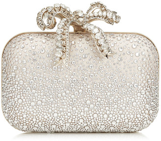 Jimmy Choo CLOUD Ballet Pink Sprinkled Crystals on Mesh Clutch Bag with Crystal Bow Clasp