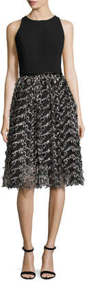Carmen Marc Valvo Sleeveless Crepe & Embroidered Mesh Cocktail Dress, Black/Pewter