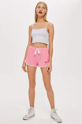 Topshop Heart Embroidered Runners Shorts