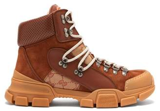 Gucci - Flashtrek Leather High Top Trainers - Womens - Brown