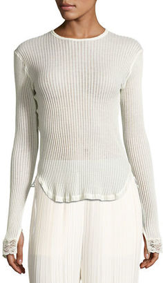 Helmut Lang Long-Sleeve Ribbed Cotton Top $230 thestylecure.com