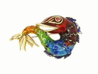 14K Yellow Gold Multi-Color Enamel 3D Koi Fish Brooch