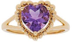 Tag Heuer FINE JEWELLERY 14K Yellow Gold Amethyst Heart Ring