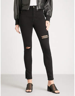 Good American Good waist Side Slit skinny high-rise jeans