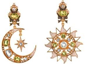 Papi Percossi Sun & Moon Green Stone Drop Earrings