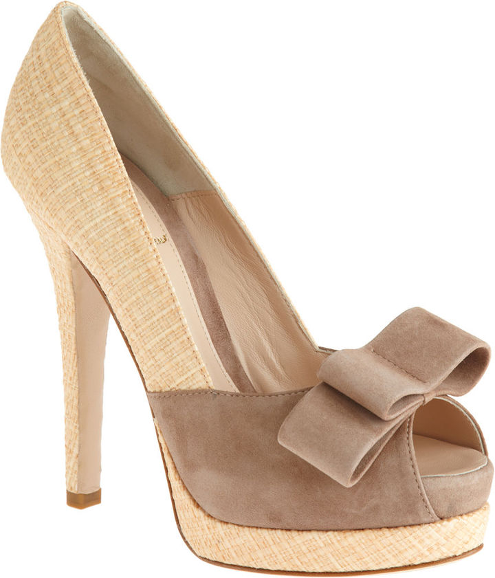 Fendi Straw Platform Pump - Tan