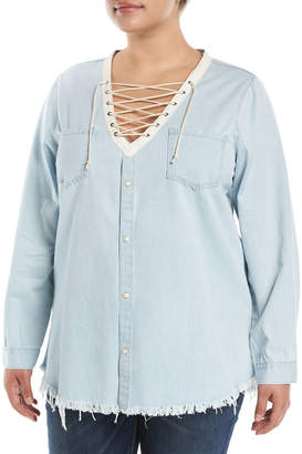 Glamorous Lace-Up Chambray Blouse, Plus Size