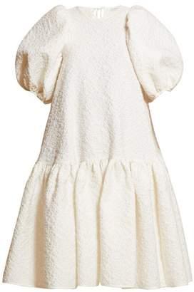 Cecilie Bahnsen - Alexa Puffed Sleeve Cloque Dress - Womens - White