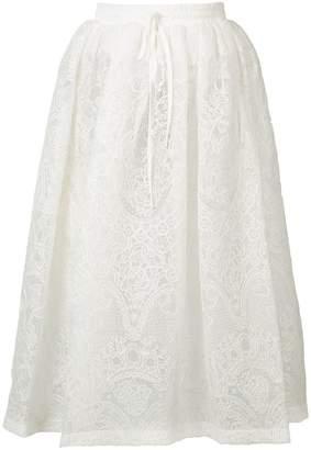 Vera Wang フローラル刺繍 スカート