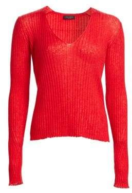 Rag & Bone Donna Rib-Knit V-Neck Sweater