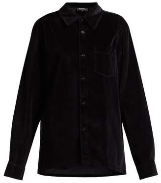 A.P.C. Velvet Oversized Shirt - Womens - Iak Dark Navy