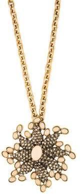 Oscar de la Renta Crystal Pendant Brooch Necklace