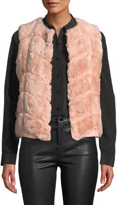 Love Token Chevron-Patterned Faux Fur Vest