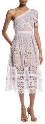 Self-Portrait One-Shoulder Floral Lace Midi Cocktail Dress