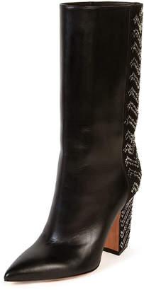 Valentino Chevron-Beaded Leather Point-Toe Boots
