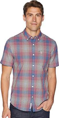 Original Penguin Men's Short Sleeve Stretch Mini Plaid Shirt