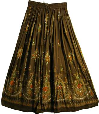 Yoga Trendz Womens Indian Sequin Crinkle Broomstick Gypsy Long Skirt