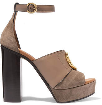 Chloé C Logo-embellished Leather And Suede Platform Sandals - Gray