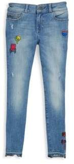 Chloé Girl's Mid-Rise Patchwork Skinny Jeans