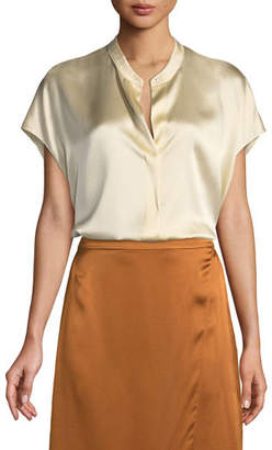 1571ac8b9b90d5 Vince Silk Split-Back Short-Sleeve Popover Top