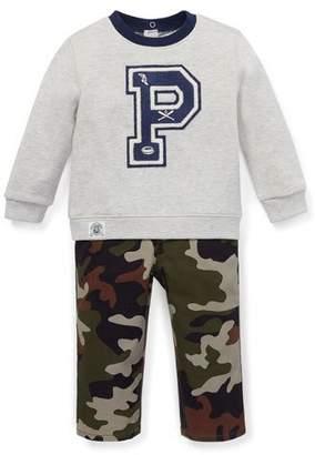 Ralph Lauren Logo Sweatshirt w/ Camo Pants, Size 6-24 Months