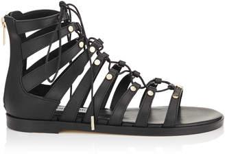 Jimmy Choo GIGI FLAT Black Vachetta Leather Sandals with Studs
