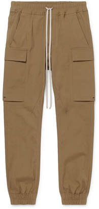Rick Owens Slim-Fit Tapered Cotton-Blend Drawstring Cargo Trousers - Men - Brown