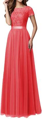 Pretygirl Womens Tulle Long Bridesmaid Dress Sleeves Lace Prom Evening Dresses (US, )