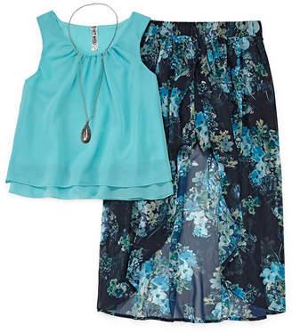 Knitworks Knit Works Chiffon Tank Top with Floral Walk Thru Skirt Set - Girls' 7-16 & Plus