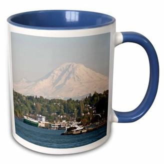 3dRose USA, Washington, Seattle, Mountain, Mt Rainier - US48 TDR1003 - Trish Drury - Two Tone Blue Mug, 11-ounce