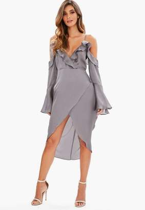 Missguided Gray Cold Shoulder Dobby Wrap Midi Dress