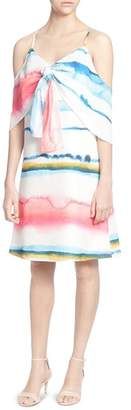 Catherine Malandrino Eden Watercolor Print Cold-Shoulder Dress