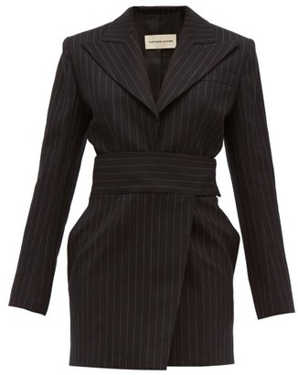 Alexandre Vauthier Double Breasted Pinstriped Wool Blend Mini Dress - Womens - Black Multi