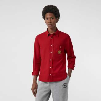 Burberry Embroidered Crest Flannel Shirt