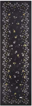 St. John Falling Bouquet Print Crinkle Silk Georgette Scarf