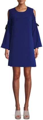 Rachel Roy Cold-Shoulder Tie Sleeve Shift Dress