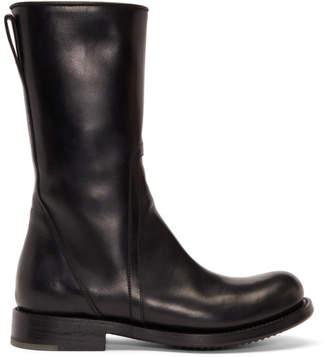 Rick Owens Black Cop Zip Boots