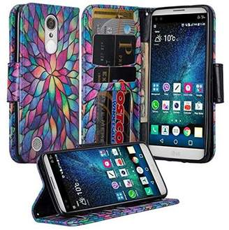 LG Electronics Coverlab K4 (2017) | Fortune | Phoenix 3 Case, Wrist Strap Magnetic Fold[Kickstand] Pu Leather Wallet Case with ID & Credit Card Slots - Rainbow Flower