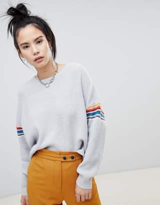 Pull&Bear stripe sleeve sweater in gray