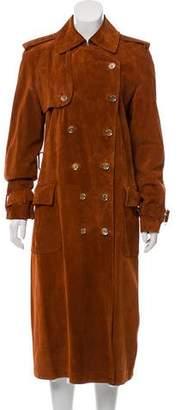Salvatore Ferragamo Suede Double-Breasted Long Coat