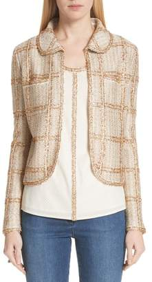 St. John Goldenflag Plaid Knit Jacket