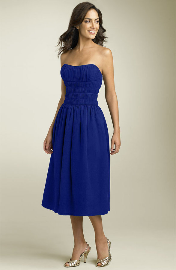 Maggy London Strapless Crinkle Chiffon Party Dress