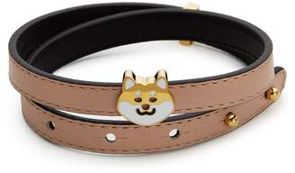 Ruifier 'Teddy' 18k yellow gold plated dog charm leather bracelet