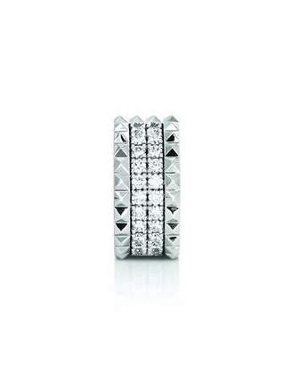 Roberto Coin 18k White Gold, Diamond & Stud Ring, Size 6.5